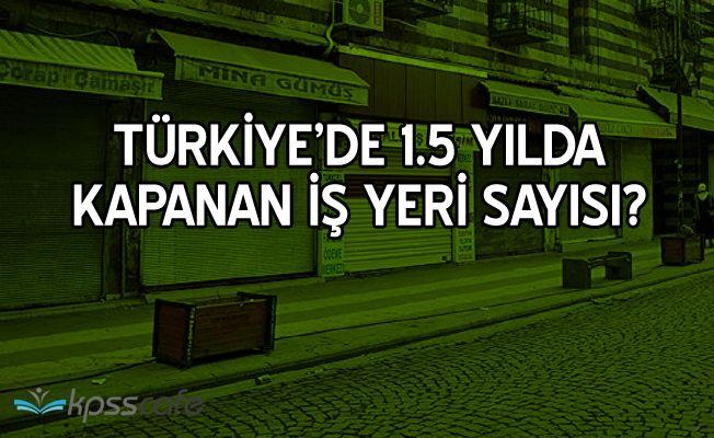 Türkiye'de 1.5 yılda Kapanan İş Yeri Sayısı?