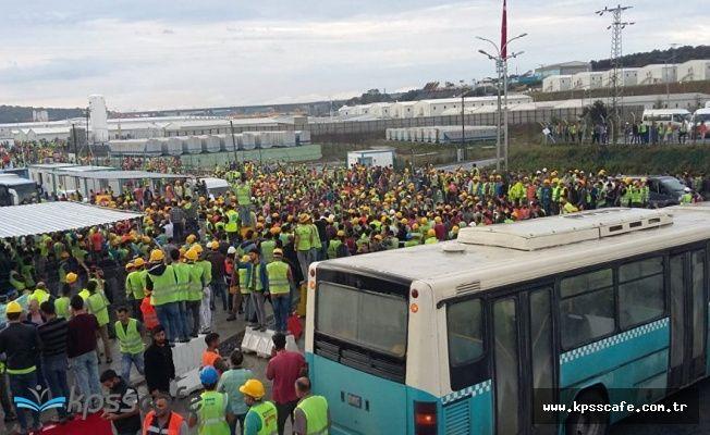 3. havalimanı inşaatında üç işçi gelmeyen servisi ıslıkla protesto ettikleri için tutuklandı