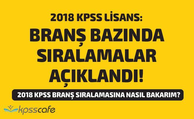 2018 KPSS- Lisans: Branş Bazında Sıralamalar Açıklandı!