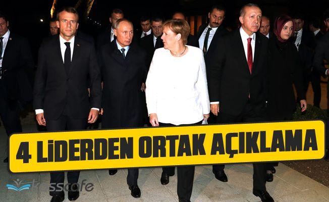 Erdoğan, Putin, Merkel ve Macron'dan Ortak Açıklama!