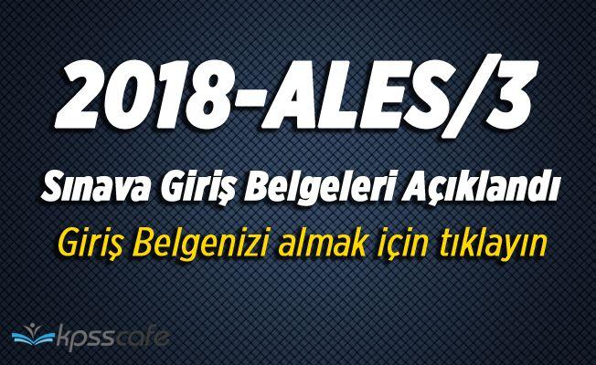 2018-ALES/3 (Sonbahar Dönemi) Sınava Giriş Belgeleri Açıklandı