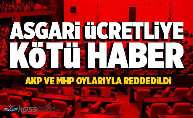 Asgari Ücretliye Kötü Haber: Meclis'te Reddedildi