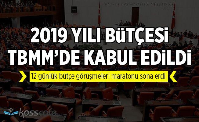 2019 yılı bütçesi TBMM Genel Kurulu'nda kabul edildi
