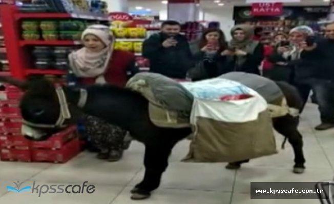 Markette eşekli ücretli poşet protestosuna 4 bin lira ceza
