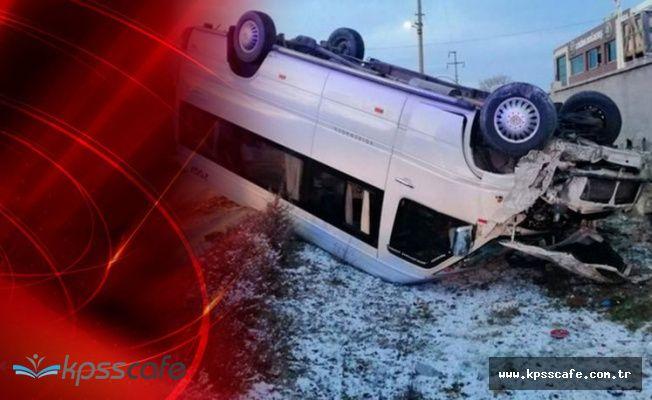 Öğrenci servisi buzlanan yolda devrildi: 12 yaralı