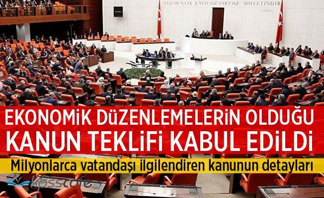 Ekonomik Düzenlemeler içeren Kanun Teklif Genel Kurul'da Kabul Edildi