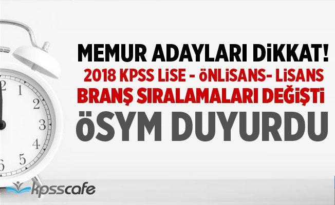 KPSS Lise, Önlisans ve Lisans Branş Sıralamaları Değişti!