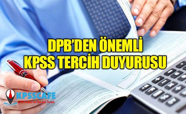 DPB'den Önemli KPSS Tercih Duyurusu!