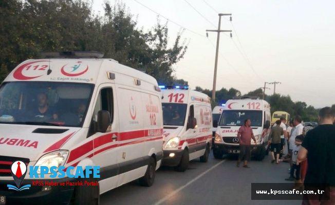 İşçileri taşıyan minibüs, piknik dönüşü kaza yaptı: 12'si ağır 23 yaralı