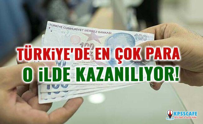 Türkiye'de en çok para o ilde kazanılıyor!
