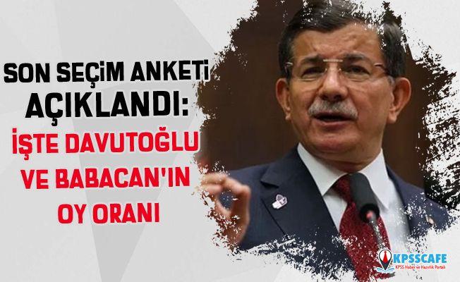 Son seçim anketi açıklandı: İşte Davutoğlu ve Babacan'ın oy oranı