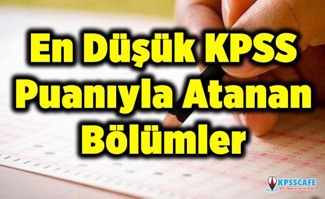 En Düşük KPSS Puanıyla Atanan Bölümler