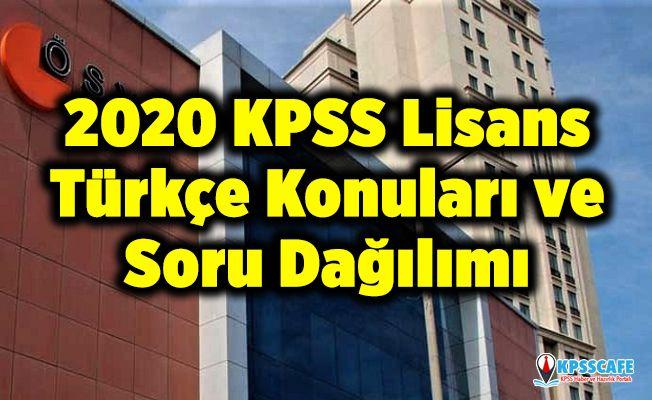 2020 KPSS Lisans Türkçe Konuları ve Soru Dağılımı (ÖSYM)
