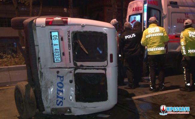 Ankara'da Polis Aracı Devrildi ! Yaralı Polislerimiz Var