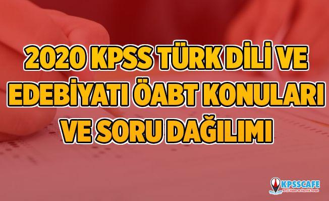 2020 KPSS Türk Dili ve Edebiyatı ÖABT Konuları ve Soru Dağılımı (ÖSYM)