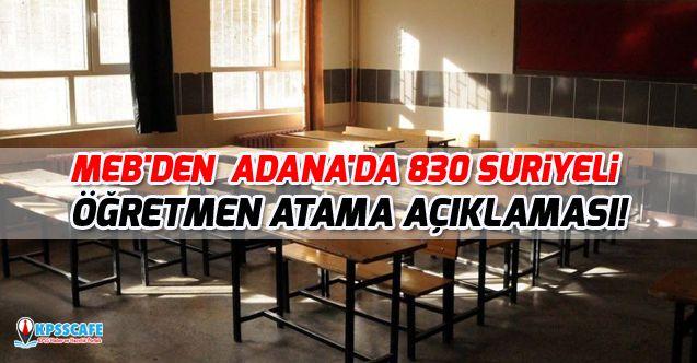MEB'den Adana'da 830 Suriyeli Öğretmen Atama Açıklaması!