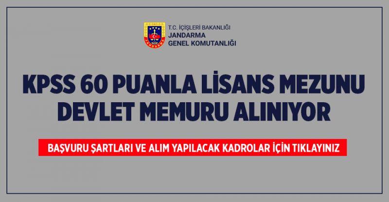 Jandarma KPSS 60 Puanla Lisans Mezunu Devlet Memuru Alıyor! İşte Başvuru Şartları...