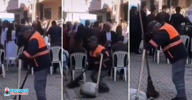 Temizlik görevlisinin halaydakilerle uyumu sosyal medyada viral oldu!