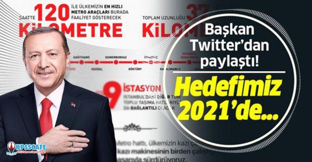 Başkan Erdoğan'dan Gayrettepe-İstanbul Havalimanı Metrosu paylaşımı