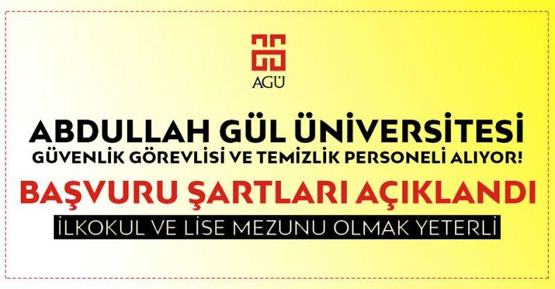 Abdullah Gül Üniversitesi Personel Alımı Yapıyor! İşte Detaylar...