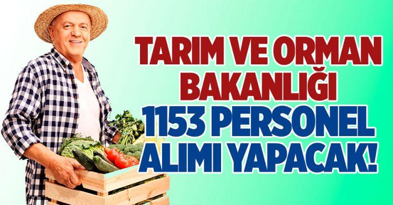 Tarım ve Orman Bakanlığı 1153 Personel Alımı Yapacak!