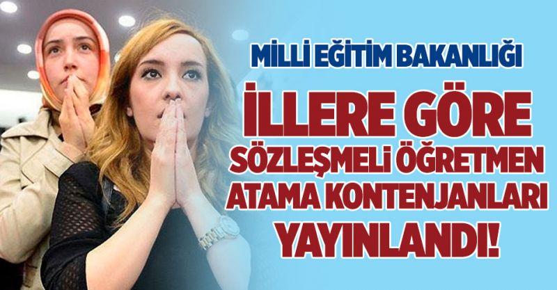 İllere Göre Sözleşmeli Öğretmen Atama Kontenjanları Yayınlandı!