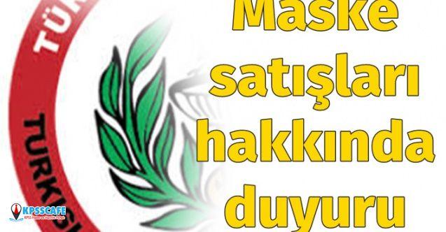 Türk Eczacıları Birliği Açıkladı: Maske Satışı İle İlgili Duyuru