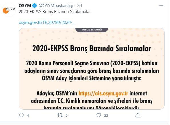 2020 EKPSS Branş Sıralamaları Güncellendi !