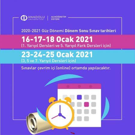 Anadolu Üniversitesi ( AÖF ) 2021 Final Sınavı Tarihlerini Duyurdu !