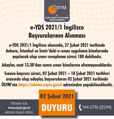 ÖSYM, e- YDS 2021/1 Sınav Başvuruları Başladı