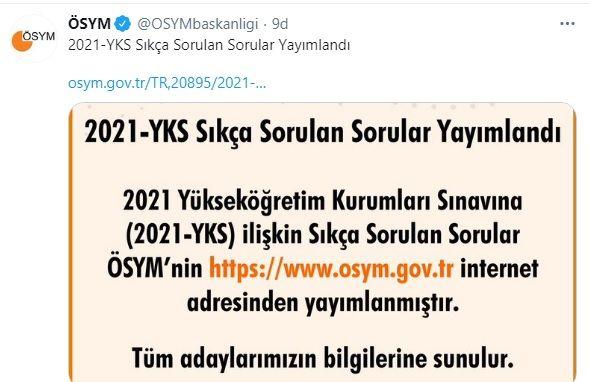 2021 YKS Sık Sorulan Sorular!