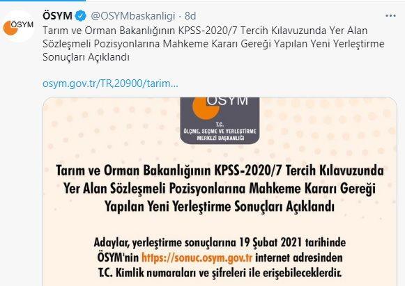 Tarım ve Orman Bakanlığının KPSS-2020/7 Tercih Sonuçları ve Taban Puanları Açıklandı