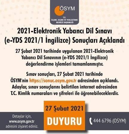 2021/1 E-YDS Sınav Sonuçları Açıklandı..