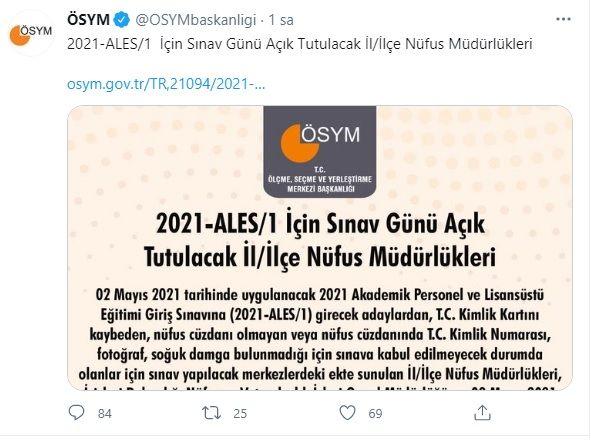 ÖSYM'den Son Dakika 2021-1 ALES Duyurusu!