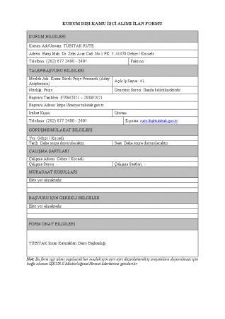 TÜBİTAK 71 Personel Alımı Yapacak ( Uzman Yardımcısı, Proje Personeli, Teknisyen, Araştırmacı )