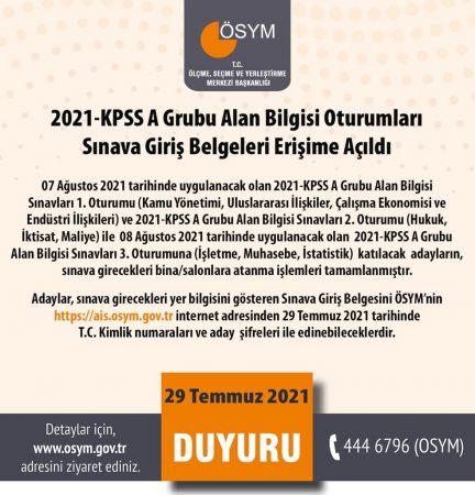 2021-KPSS A Grubu Alan Bilgisi Oturumları Sınava Giriş Belgeleri Erişime Açıldı