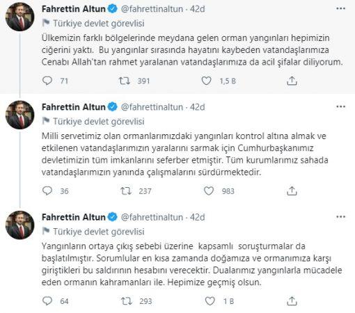 Cumhurbaşkanlığı İletişim Başkanı Fahrettin Altun'dan Yangınlarla İlgili Açıklama!