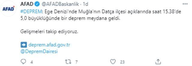 Son Dakika! Muğla Datça'da 5 Büyüklüğünde Deprem!