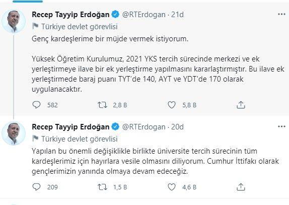 Cumhurbaşkanı Erdoğan Müjdeyi Verdi; YKS'de Baraj Puanı Düşürüldü