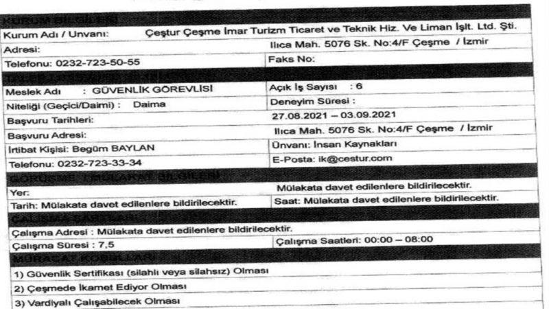 İzmir Çeşme Belediyesi 6 Güvenlik Görevlisi Alımı Yapacak