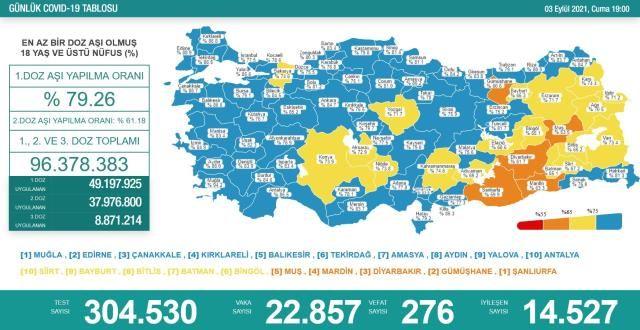 Koronavirüs Vaka Ve Vefat Sayıları Düştü! 3 Eylül Koronavirüs Tablosu