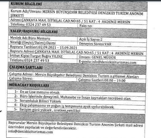 Mersin Büyükşehir Belediyesi Şoför, Aşçı, Büro personeli 72 Personel Alımı Yapacak