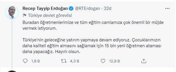 Cumhurbaşkanı Erdoğan Atama Bekleyen Öğretmenlere Müjdeyi Verdi; 15 Bin Yeni Öğretmen Alımı Yapacağız