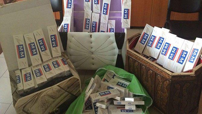 Çeyiz sandığında 3 bin paket kaçak sigara