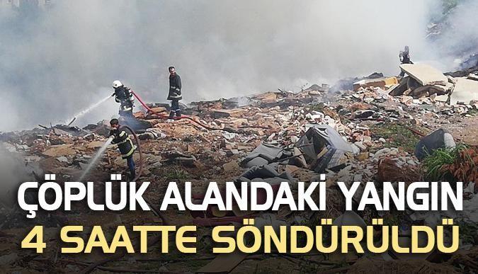 Çöplük alandaki yangın 4 saatte söndürüldü