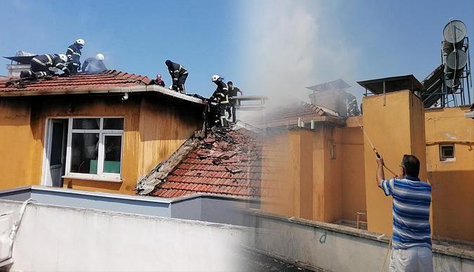 İzolasyon yapımı sırasında çatıda yangın çıktı!