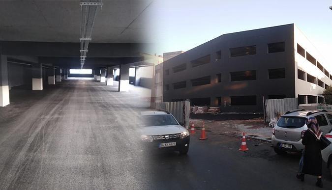7 katlı otoparkın katlarına asfalt serimi başladı