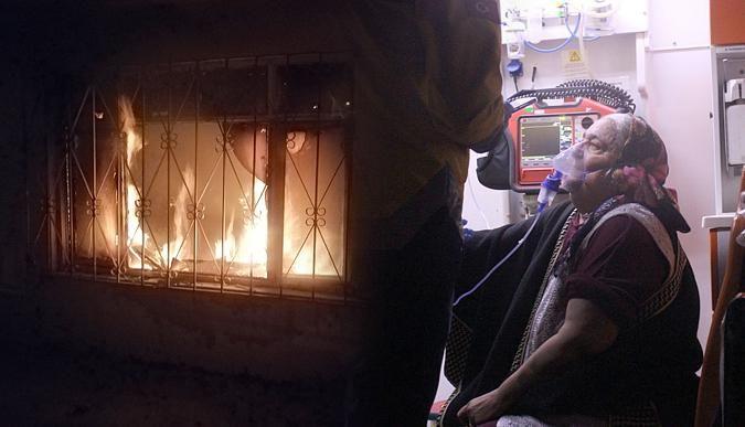 Evde yangın çıktı, yaşlı kadın hastanelik oldu!