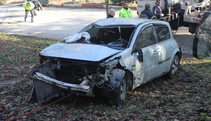 Otomobil mesire alanına uçtu: 1 yaralı