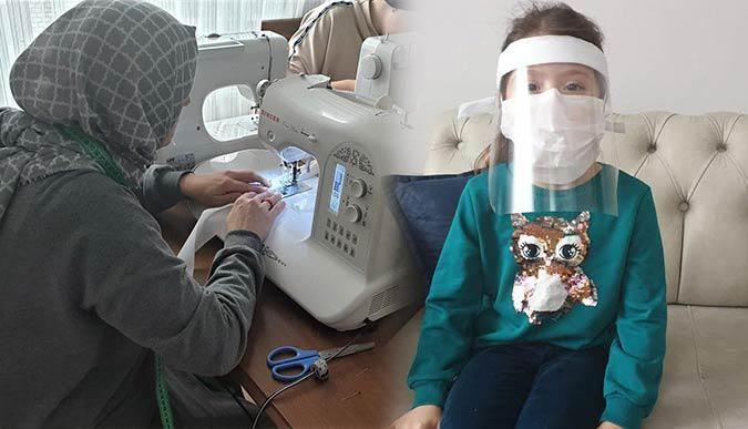 Büyükşehir destekliyor, anneler siperlik maske üretiyor